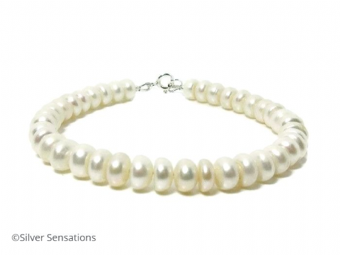Grace - White Cultured Freshwater Rondelle Pearls & Sterling Silver Wedding Bracelet